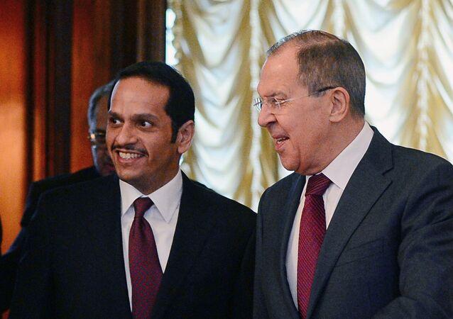 Rusya Dışişleri Bakanı Sergey Lavrov ve Katarlı mevkidaşı Muhammed bin Abdülrahman el Tani