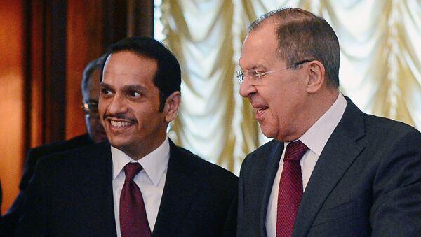 Rusya Dışişleri Bakanı Sergey Lavrov ve Katarlı mevkidaşı Muhammed bin Abdülrahman el Tani - Sputnik Türkiye