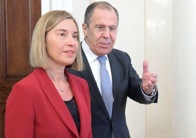 Rusya Dışişleri Bakanı Sergey Lavrov ile Avrupa Birliği (AB) Dışişleri ve Güvenlik Politikaları Yüksek Temsilcisi Federica Mogherini