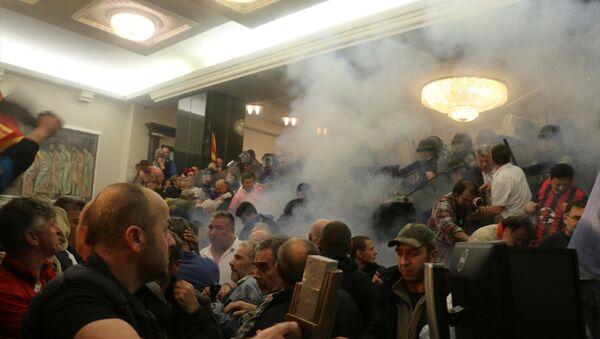 Makedonya'da parlamento karıştı - Sputnik Türkiye