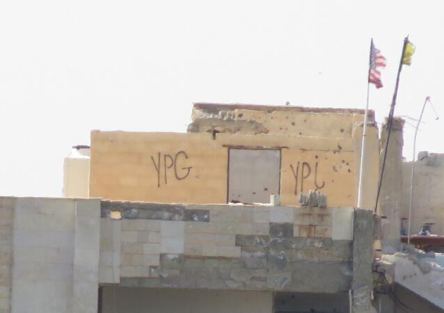 Türkiye sınırının karşısında bulunan YPG noktası