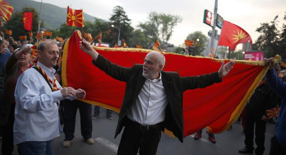 Makedonya'da meclis başkanı seçimini protesto eden göstericiler