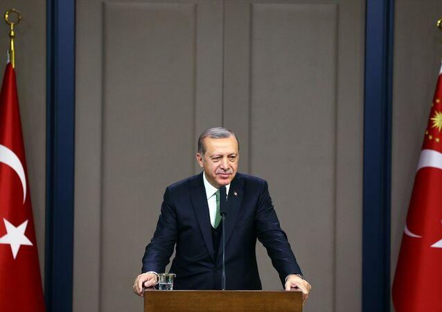 Cumhurbaşkanı Recep Tayyip Erdoğan, Rusya'nın Soçi kentine hareketinden önce Esenboğa Havalimanı'nda basın toplantısı düzenledi.