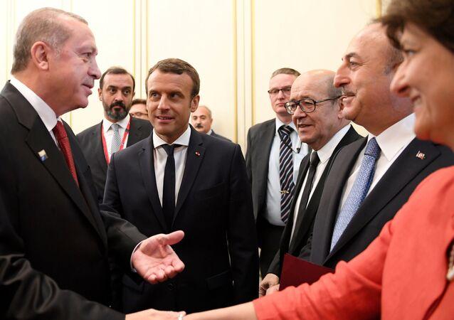 Cumhurbaşkanı Recep Tayyip Erdoğan, Fransa Savunma Bakanı Sylvie Goulard ile el sıkıştı
