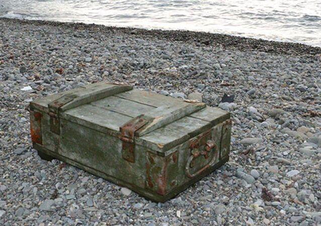 Sakarya'nın Kaynarca ilçesinde kıyıya vuran ve içinde mühimmat bulunan sandık