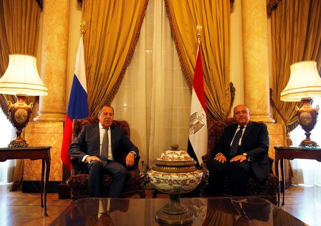 Rusya Dışişleri Bakanı Sergey Lavrov ile Mısırlı mevkidaşı Semih Şükri
