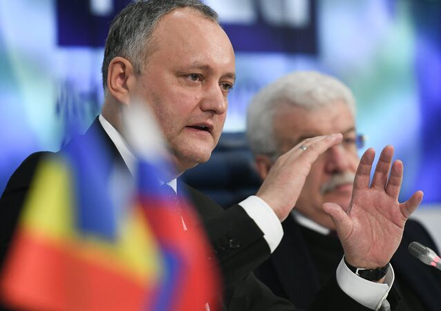 President of Moldova Igor Dodon at a press conference in Moscow