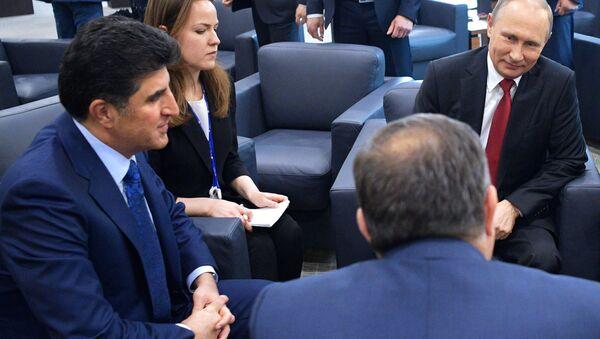Rusya Devlet Başkanı Vladimir Putin ve IKBY Başbakanı Neçirvan Barzani - Sputnik Türkiye