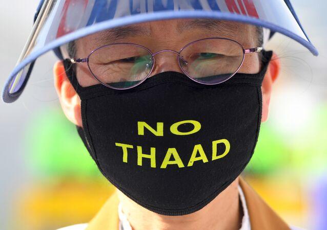 THAAD karşıtı bir eylemci