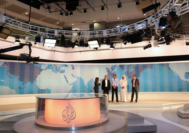 Al-Jazeera channel's newsroom in Doha