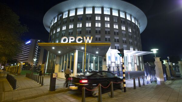 A car arrives at the headquarters of the Organization for the Prohibition of Chemical Weapons, OPCW, in The Hague, Netherlands. - Sputnik Türkiye