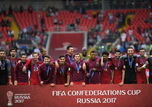 Members of Portugal's national team during the award ceremony after winning the 2017 FIFA Confederations Cup third-place match between Portugal and Mexico