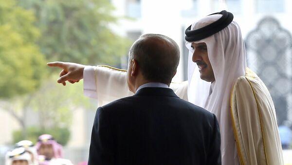 Emir of Qatar Sheikh Tamim bin Hamad Al-Thani, right, points as Turkey's President Recep Tayyip Erdogan looks on during a welcome ceremony in Doha, Qatar, Wednesday, Feb. 15, 2017 - Sputnik Türkiye