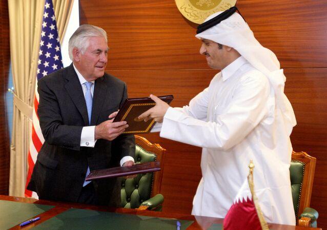 ABD Dışişleri Bakanı Rex Tillerson, Katar Dışişleri Bakanı Muhammed bin Abdulrahman el Sani