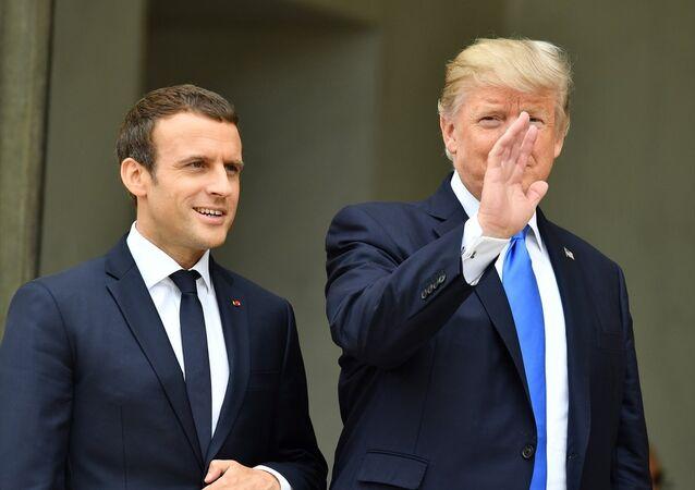 Fransa Başbakanı Emmanuelle Macron ve ABD Başkanı Donald Trump