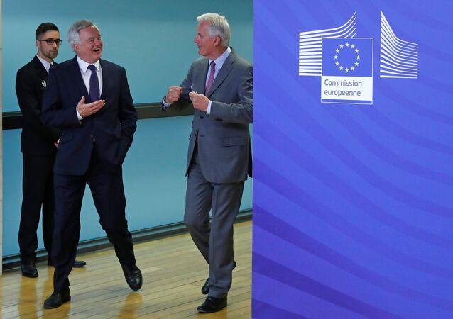 AB Komisyonunun Brexit Başmüzakerecisi Michel Barnier ve İngiltere Brexit Bakanı David Davis