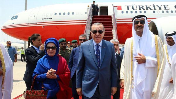 Recep Tayyip Erdoğan- Katar Emiri Şeyh Temim bin Hamad el Sani - Sputnik Türkiye