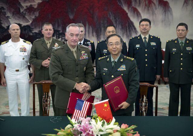 ABD Genelkurmay Başkanı Orgeneral Joseph Dunford ile Çin Halk Kurtuluş Ordusu Genelkurmay Başkanı Fang Fınghui