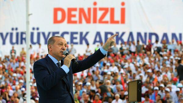 Cumhurbaşkanı ve AK Parti Genel Başkanı Recep Tayyip Erdoğan, partisinin Denizli İl Başkanlığı Genişletilmiş İl Danışma Meclisi Toplantısı'na katıldı. - Sputnik Türkiye