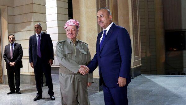 Irak Kürt Bölgesel Yönetimi'nin Başkanı Mesud Barzani ile Dışişleri Bakanı Mevlüt Çavuşoğlu - Sputnik Türkiye