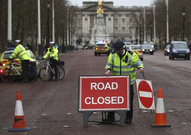 Buckingham Sarayı'nda polis yolu kapatıyor