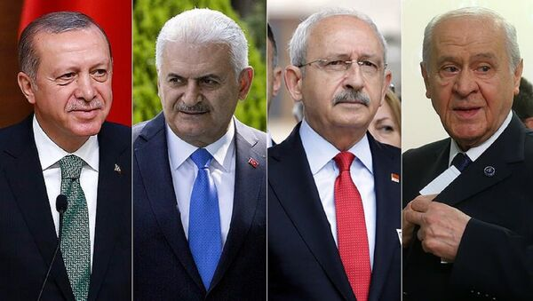 Cumhurbaşkanı Recep Tayyip Erdoğan, Başbakan Binali Yıldırım, CHP Genel Başkanı Kemal Kılıçdaroğlu ve MHP Genel Başkanı Devlet Bahçeli - Sputnik Türkiye