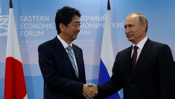 Rusya Devlet Başkanı Vladimir Putin ve Japonya Başbakanı Şinzo Abe - Sputnik Türkiye