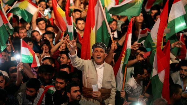 IKBY bağımsızlık referandumuna destek için Erbil'de düzenlenen miting - Sputnik Türkiye