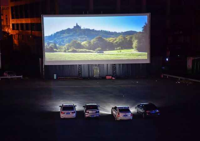Çin-araba-açık hava-sinema