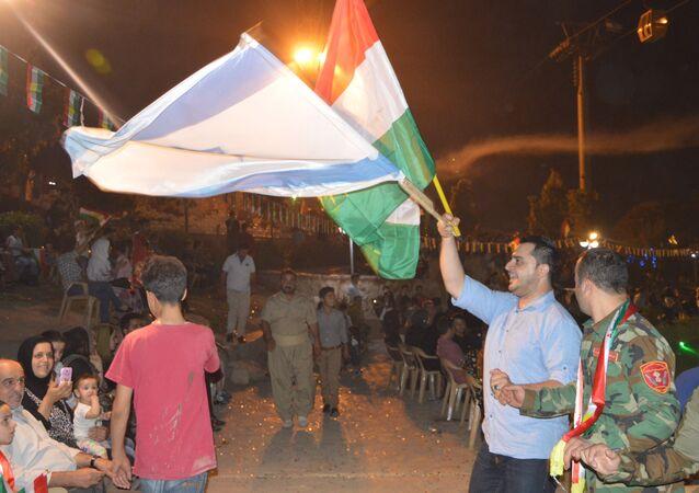 Erbil'deki bağımsızlık referandumu kutlamalarında İsrail bayrağı açıldı