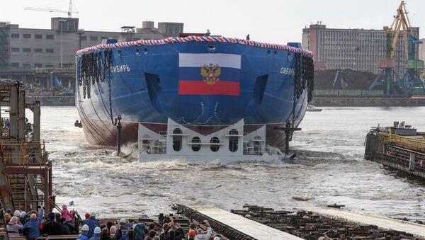 Dünyanın en güçlü nükleer buzkıran gemisinin suya indirme töreni - Sputnik Türkiye