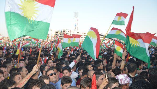 Irak Kürt Bölgesel Yönetimi'nin (IKBY) başkenti Erbil'de bağımsızlık referandumuna destek mitingi yapıldı. - Sputnik Türkiye