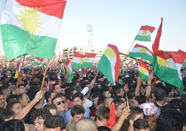 Irak Kürt Bölgesel Yönetimi'nin (IKBY) başkenti Erbil'de bağımsızlık referandumuna destek mitingi yapıldı.