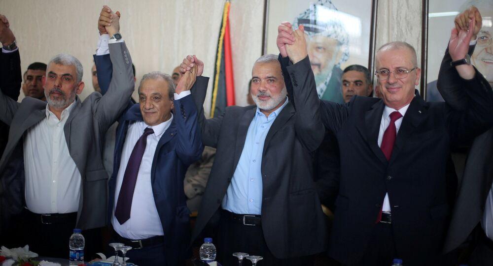 Filistin Başbakanı Rami el Hamdallah, Hamas Siyasi Büro Başkanı İsmail Heniyye