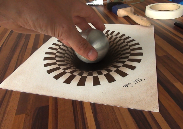 Hole 3d drawing illusion painting