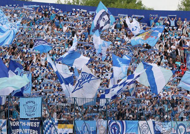 Zenit fans at Lokomotiv stadium in a 14th round Russian Championship of Russia Premier League match between FC Volga (Nizhny Novgorod) and FC Zenit (St. Petersburg). (File)