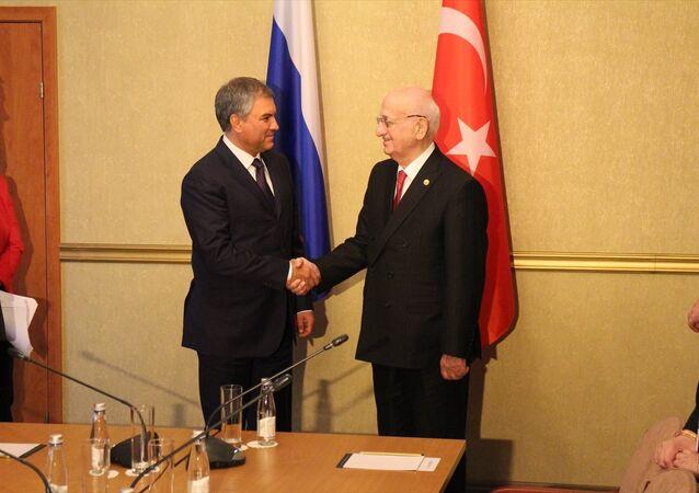 TBMM Başkanı İsmail Kahraman, Rusya Federasyonu Federal Meclisi Devlet Duması Başkanı Vyaçeslav Volodin ile görüştü