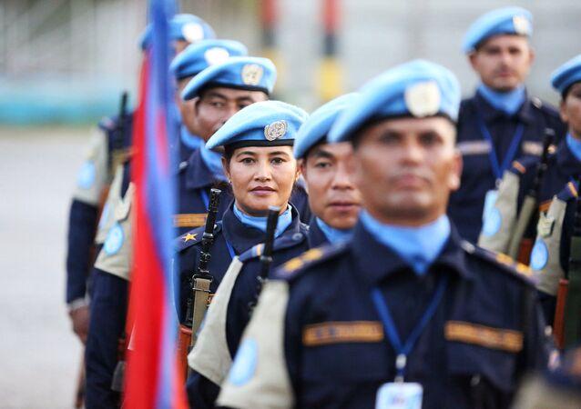 Haiti'de görev yapan Nepalli Birleşmiş Milletler barış gücü misyonu (MINUSTAH) askerleri