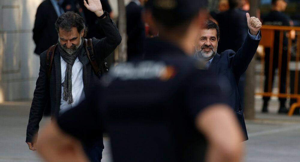 Katalonya Ulusal Asamblesi (ANC) Başkanı Jordi Sanchez ve Omnium Cultural Başkanı Jordi Cuixart