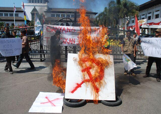 Endonezya'da komünizm karşıtı bir grubun eylemi