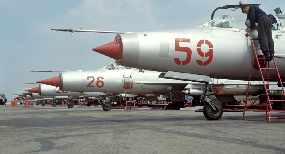 MiG-21 fighters at airfield