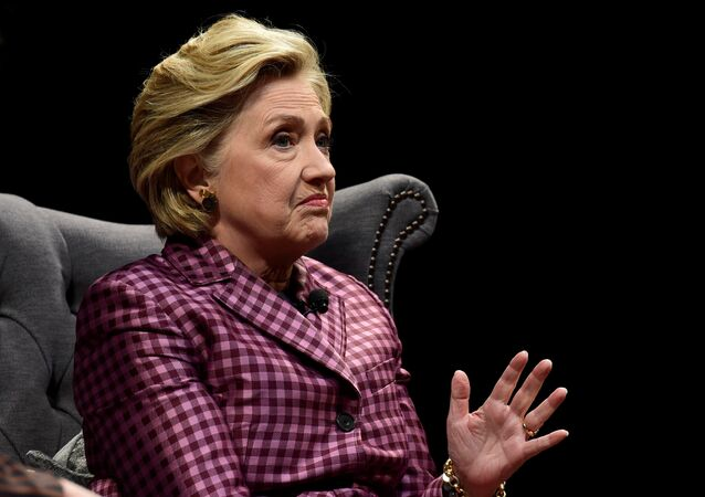 Former US Secretary of State, Hillary Clinton speaks during an interview with Mariella Frostrup at the Cheltenham Literature Festival in Cheltenham, Britain October 15, 2017.