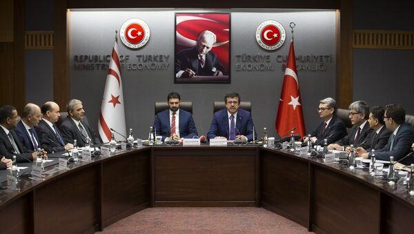Ekonomi Bakanı Nihat Zeybekci ve Kuzey Kıbrıs Ekonomi ve Enerji Bakanı Sunat Atun - Sputnik Türkiye