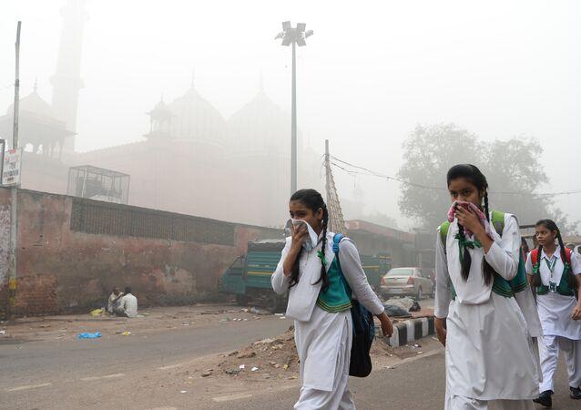 20 milyonluk nüfusuyla dünyanın en kalabalık başkenti Yeni Delhi'de yoğun duman tabakasının her tarafı kaplamasının ardından insanlar ağızlarını mendil ya da kıyafetleiyrle kapatarak günlük yaşamlarına devam etmeye çalıştı.