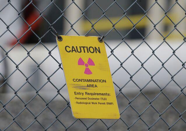 A sign warning of radioactive contamination