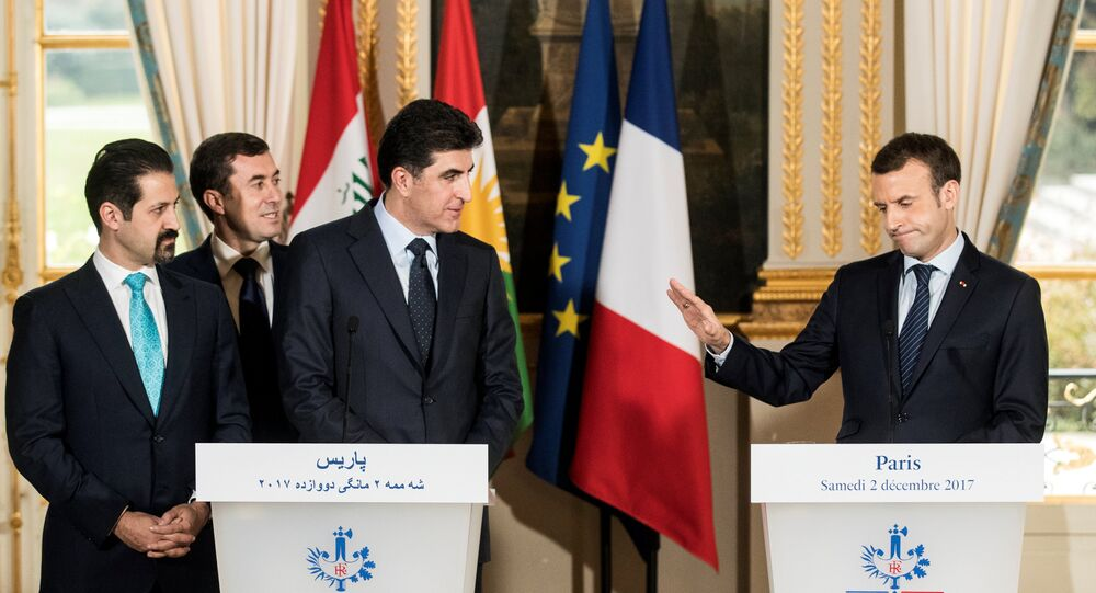 Fransa Cumhurbaşkanı Emmanuel Macron- IKBY Başbakanı Neçirvan Barzani