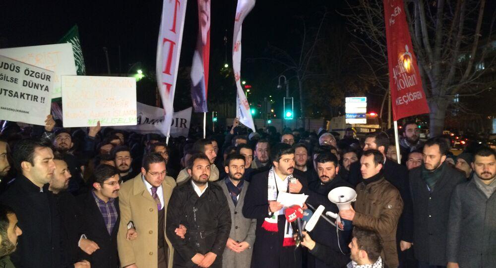 ABD'nin Ankara Büyükelçiliği önünde Kudüs protestosu