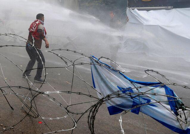 Beyrut'ta, ABD Büyükelçiliği önündeki Kudüs protestosuna polis müdahalesi