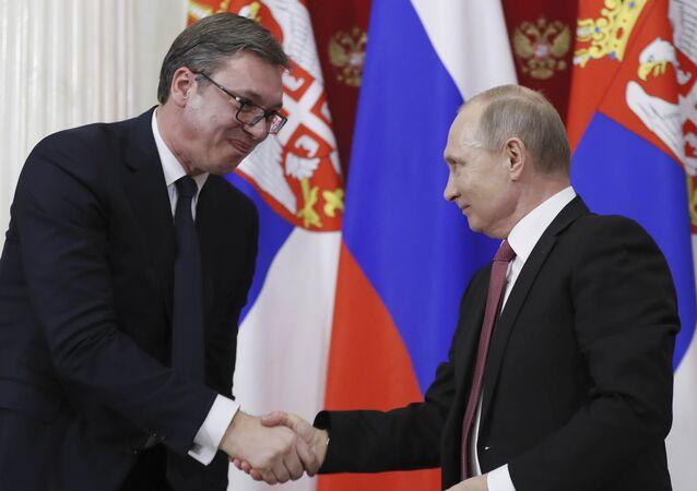 Sırbistan Cumhurbaşkanı Aleksandr Vucic ve Rusya Devlet Başkanı Vladimir Putin