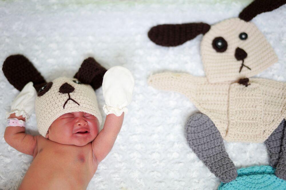 Bebeklerin ebeveynlerine de köpek kılığındaki evlatlarının çerçeveli fotoğrafları hatıra amaçlı verildi.